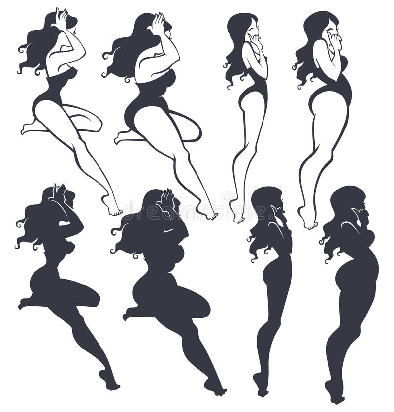 Fat and slim. Pinup girls collection vector illustration