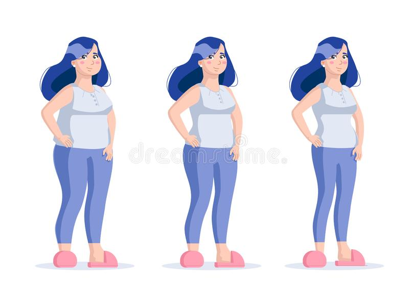 Fat Slim Woman Set. Before After Girl with Dumbbell Body Isolated White Background. Healthy, Unhealthy People Lifestyle. Obesity, royalty free stock photo