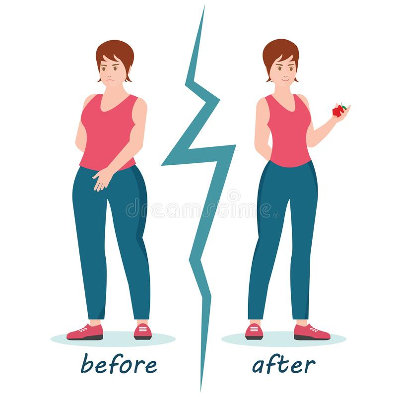 Fat and slim women weight loss success. Fat and slim women weight loss success, Woman before and after diet weigh loss, healthy lifestyle conceptual cartoon royalty free illustration
