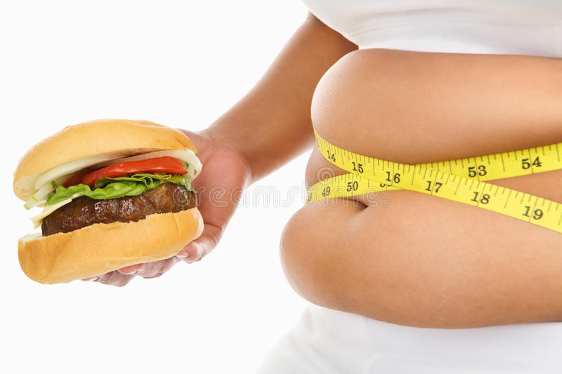 Fat stomach stock image