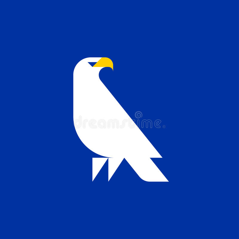 Fat style vector logo template of white eagle on blue background royalty free illustration