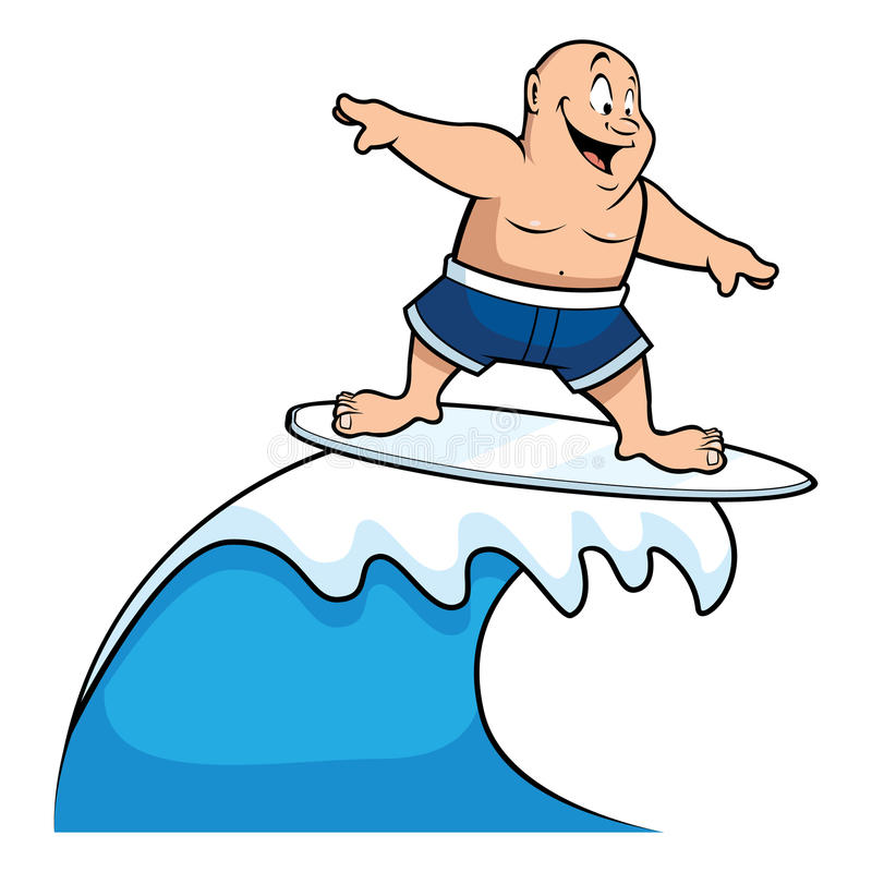 fat surfer riding wave stock vector illustration of balance 17516292 rh dreamstime com Waves without Surfers of Movie Animal Clip Art and Surf