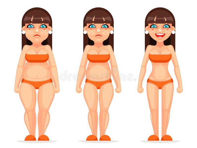 Fat thin female character different stages health diet cartoon design vector illustration royalty free illustration