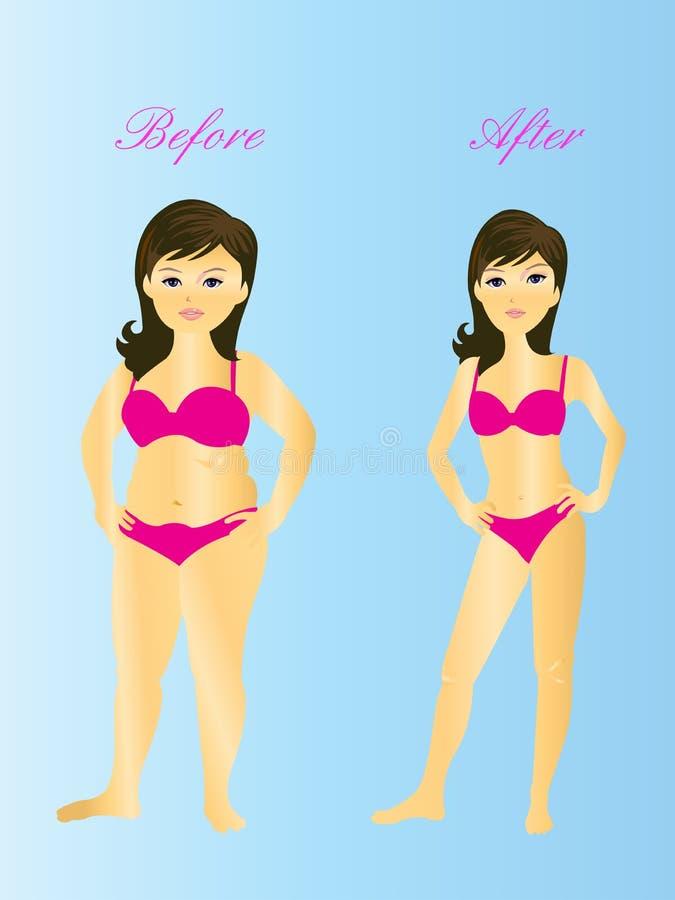 Fat & thin women royalty free illustration