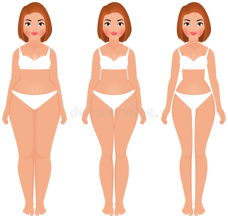 Fat to slim woman weight loss transformation front vector illustration