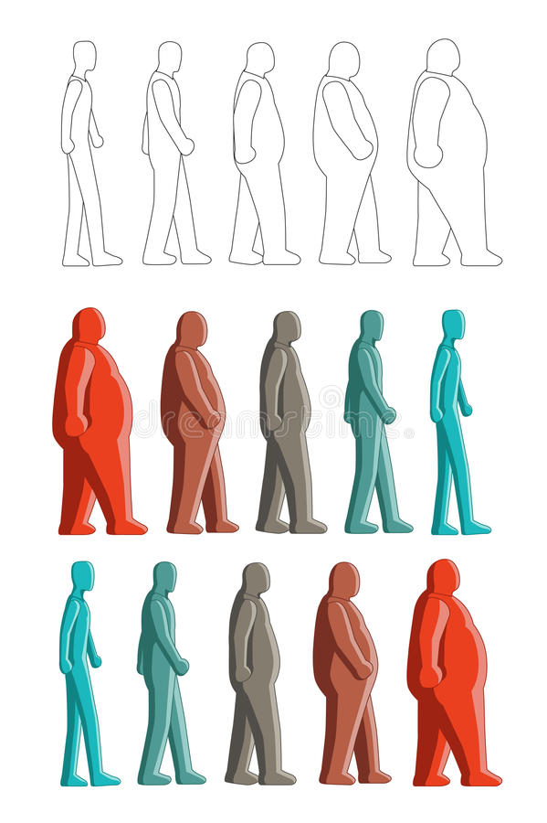 Fat to thin royalty free illustration