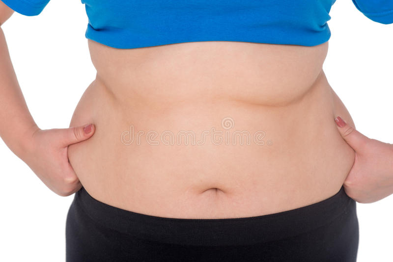 Fat woman belly stock photography