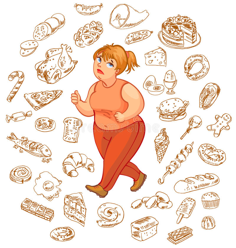 Fat woman dreams of high-calorie foods stock illustration