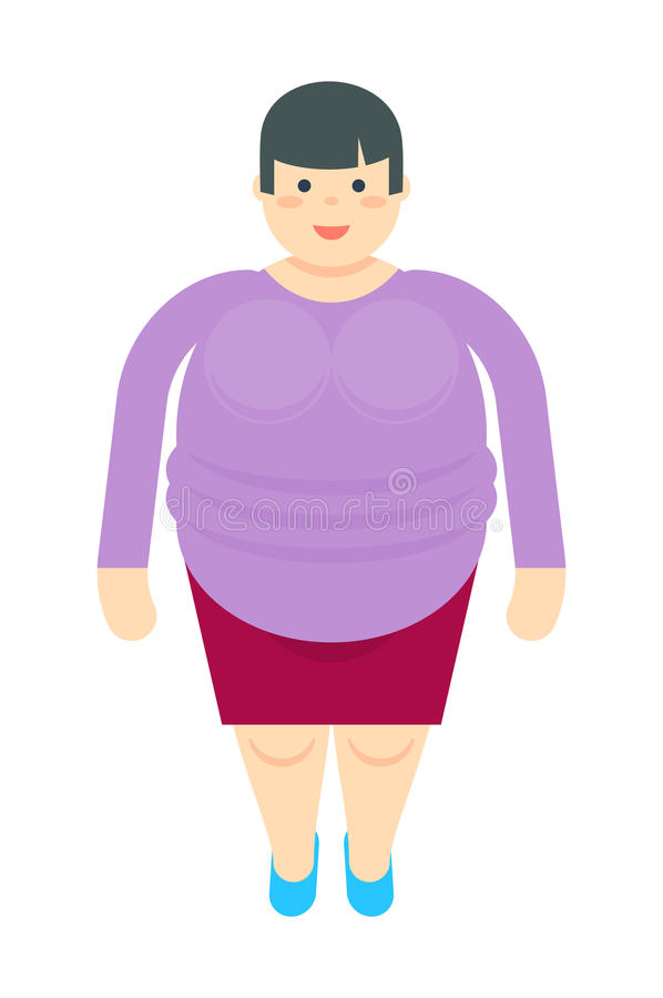 Fat woman in dress icon stock illustration