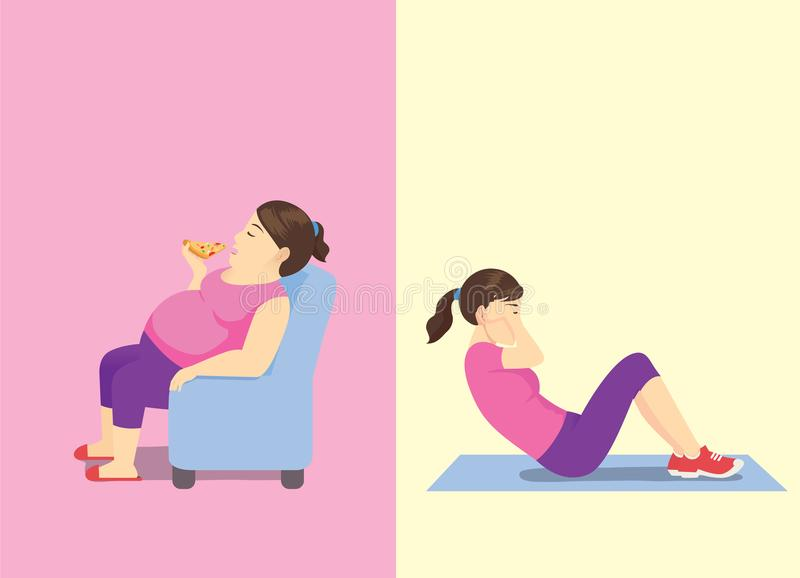 Fat woman eating fast food on sofa but slim woman doing sit up workout. vector illustration
