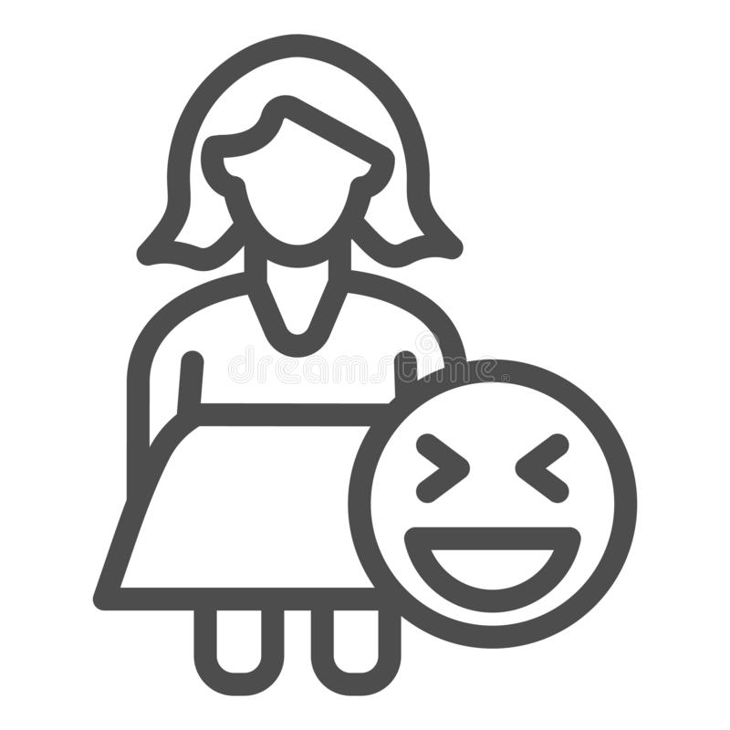 Fat woman and emoji line icon. Obese girl vector illustration isolated on white. Female plus size outline style design. Designed for web and app. Eps 10 royalty free illustration