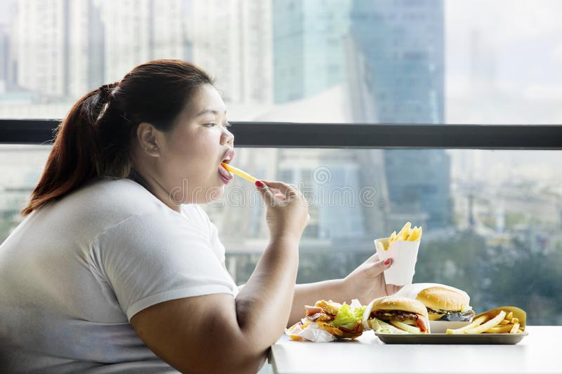 Fat woman enjoying french fries in the restaurant. Side view of fat woman enjoying french fries in the restaurant with hamburgers on the table stock photos