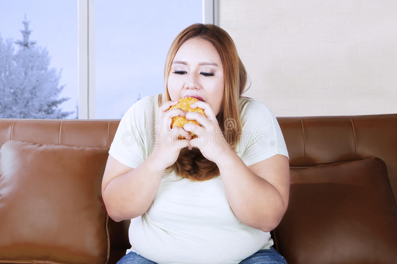 Fat woman enjoying a hamburger on couch. Overweight woman eating a delicious hamburger while sitting on the couch near the window royalty free stock photography