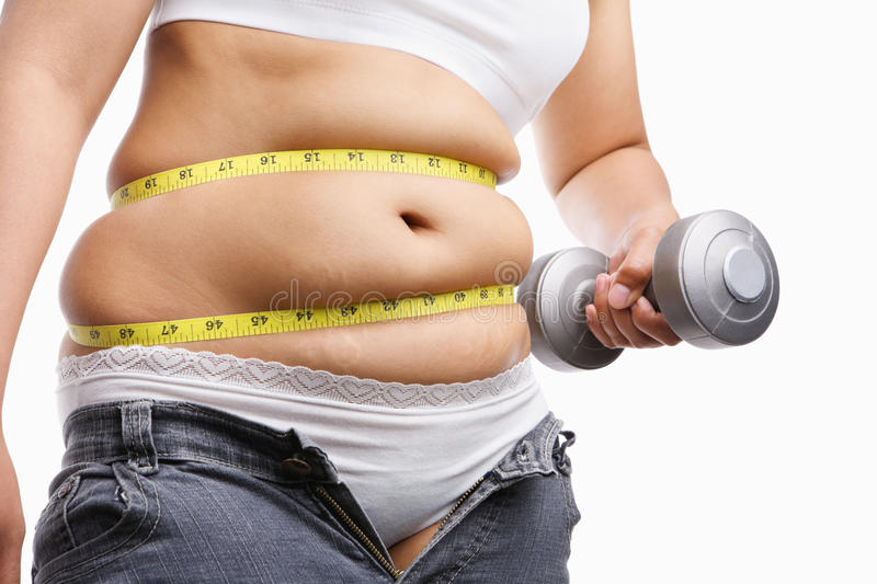Download Fat Woman Holding Weight To Exercise Stock Photo - Image: 11544006