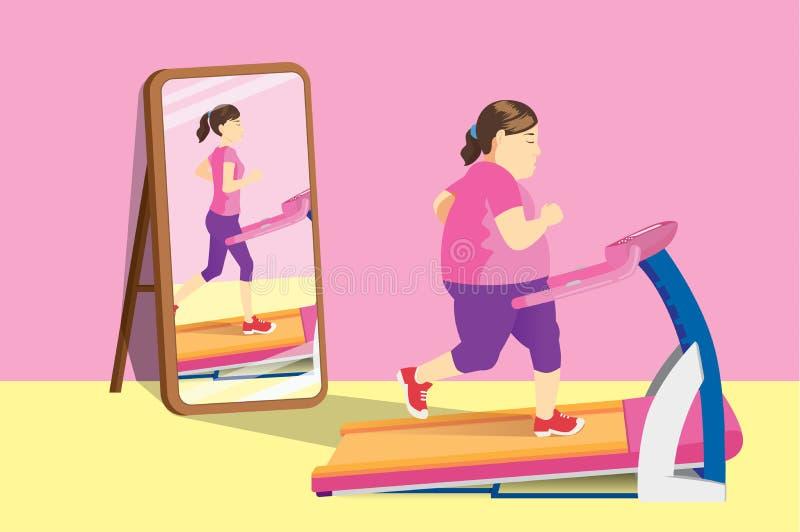 Fat woman jogging on electric treadmill but mirror reflecting a slim woman. stock illustration