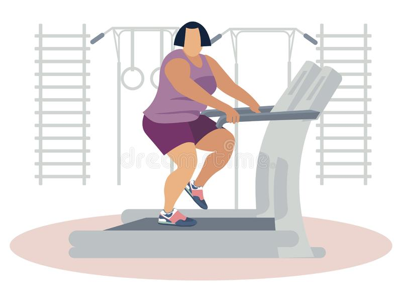 Fat woman jogging on treadmill vector illustration flat. Fat woman jogging on treadmill. Cartoon sport vector illustration flat vector illustration