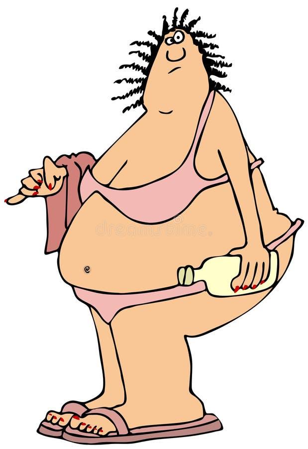 Fat woman in a pink bikini royalty free illustration