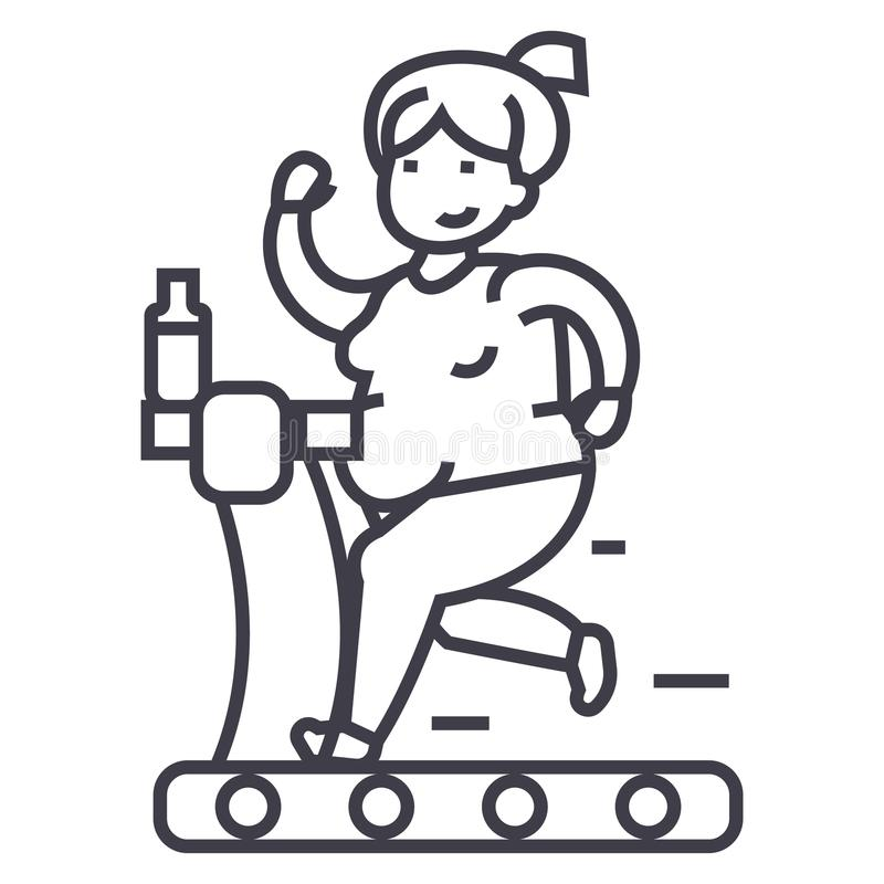 Fat woman running in gym vector line icon, sign, illustration on background, editable strokes stock illustration