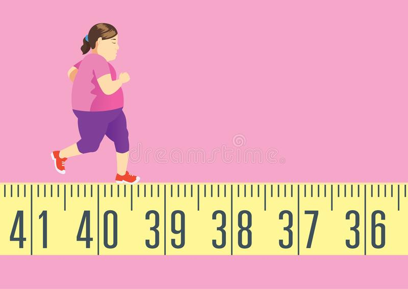 Fat woman running on tape measure for get in shape and lose weight. royalty free illustration