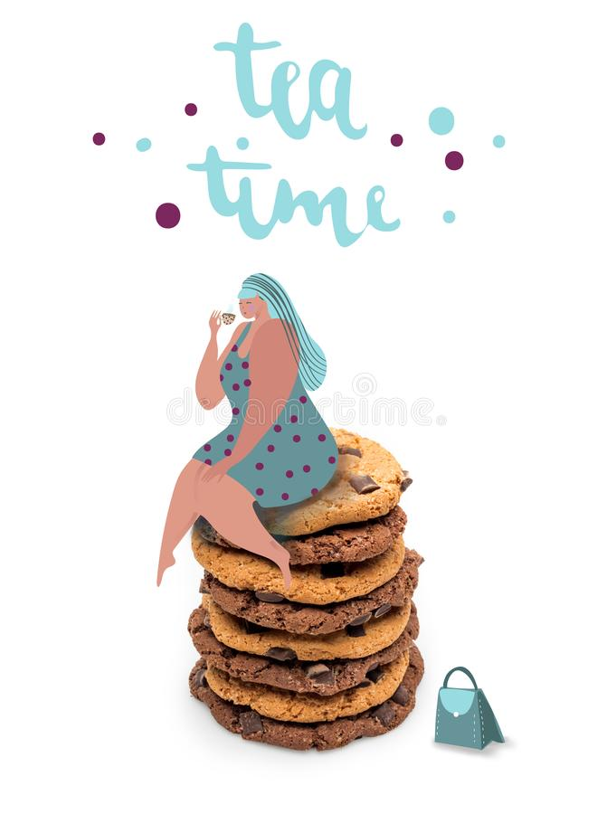 Fat woman sitting on stack of cookies royalty free illustration