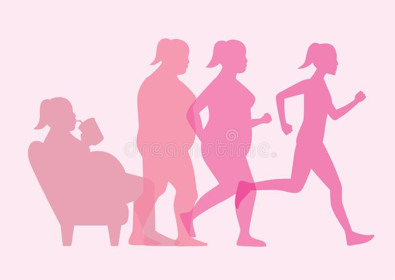 Fat woman stand up from sofa for loss weight with jogging. vector illustration