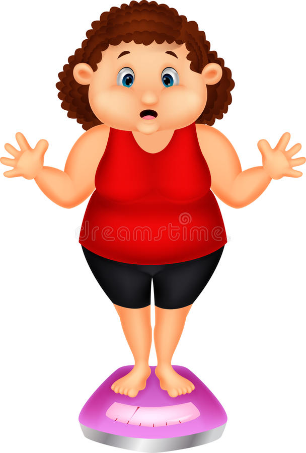 Fat woman very worried with her weight. Illustration of Fat woman very worried with her weight royalty free illustration