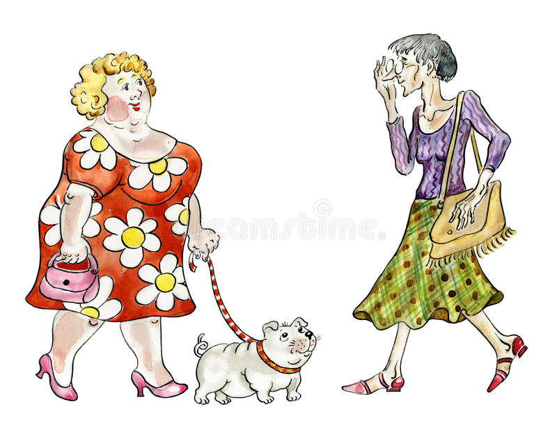 Fat woman walking fat dog vector illustration
