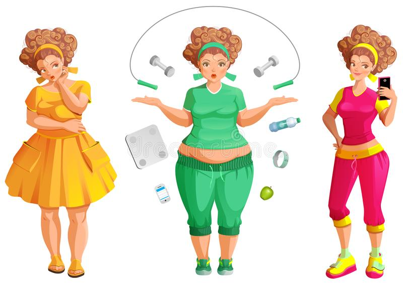 Woman Fat To Thin Weight Loss Transformation Stock Illustration