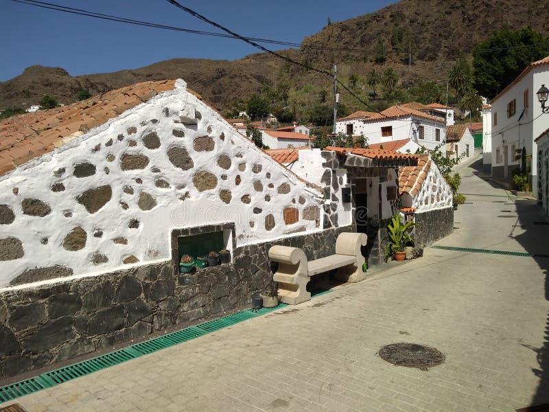 Fataga村庄-大加那利岛 库存图片