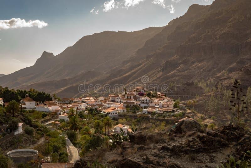 Fataga, uma aldeia da montanha em Gran Canaria, Ilhas Canárias, Espanha fotografia de stock royalty free