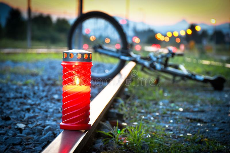 Fatal bicyclist and train crash accident stock photos