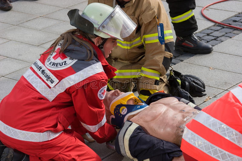 Fatal traffic accident - Person trapped. While the state-wide fire service action week in September 2014 the fire department Bayreuth (Franconia – Bavaria royalty free stock photography