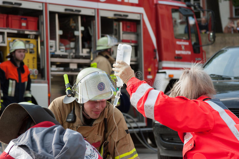 Fatal traffic accident - Person trapped. While the state-wide fire service action week in September 2014 the fire department Bayreuth (Franconia – Bavaria royalty free stock images