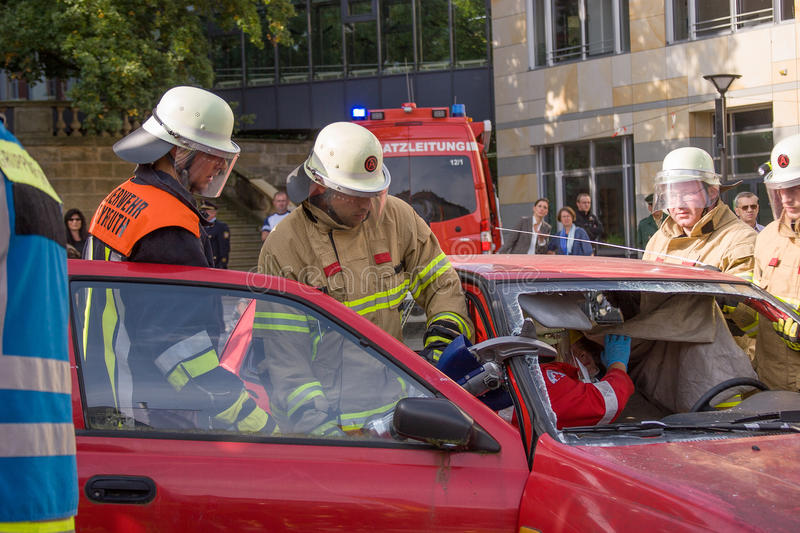 Fatal traffic accident - Person trapped. While the state-wide fire service action week in September 2014 the fire department Bayreuth (Franconia – Bavaria royalty free stock image