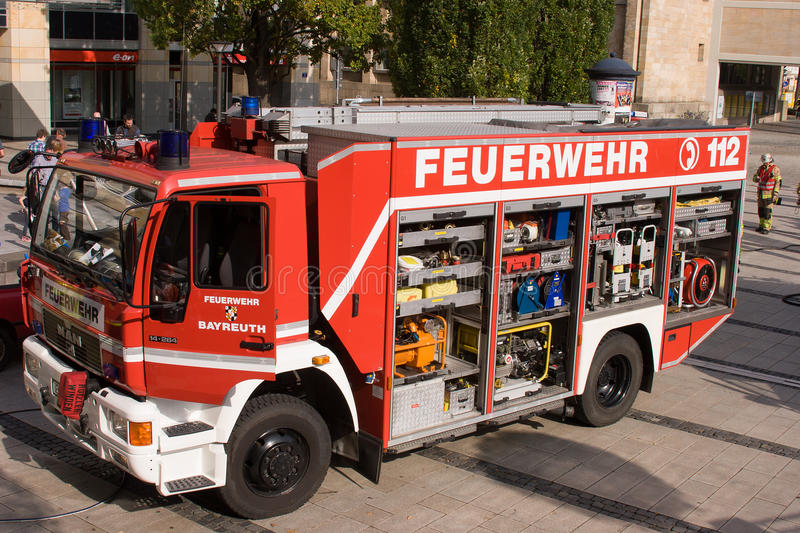 Fatal traffic accident - Person trapped. While the state-wide fire service action week in September 2014 the fire department Bayreuth (Franconia – Bavaria stock image