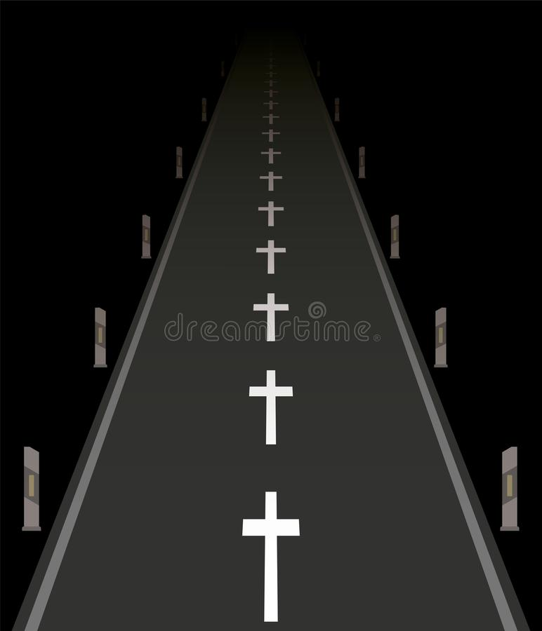 Fatal Traffic Accidents Road Crosses Night royalty free illustration