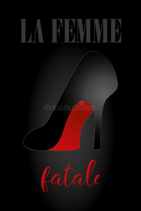 ` Fatale Femme Ла ` - сексуальный ботинок высокой пятки в черноте с красным дном иллюстрация вектора