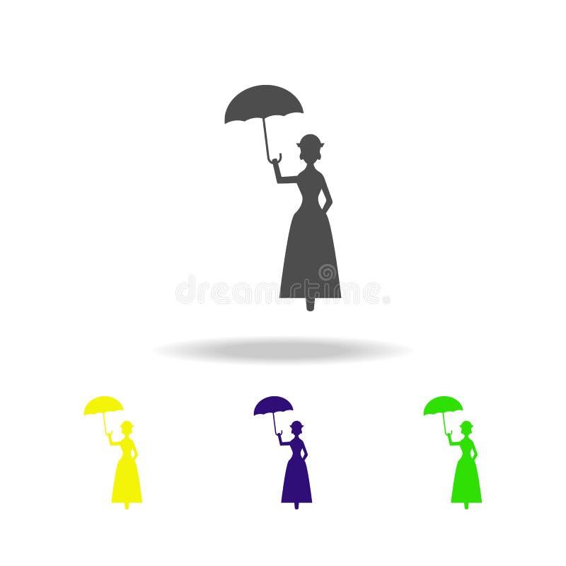 fatato con le icone multicolori della siluetta dell'ombrello Elemento dell'illustrazione di eroi di fiaba Segni ed icona FO della illustrazione di stock