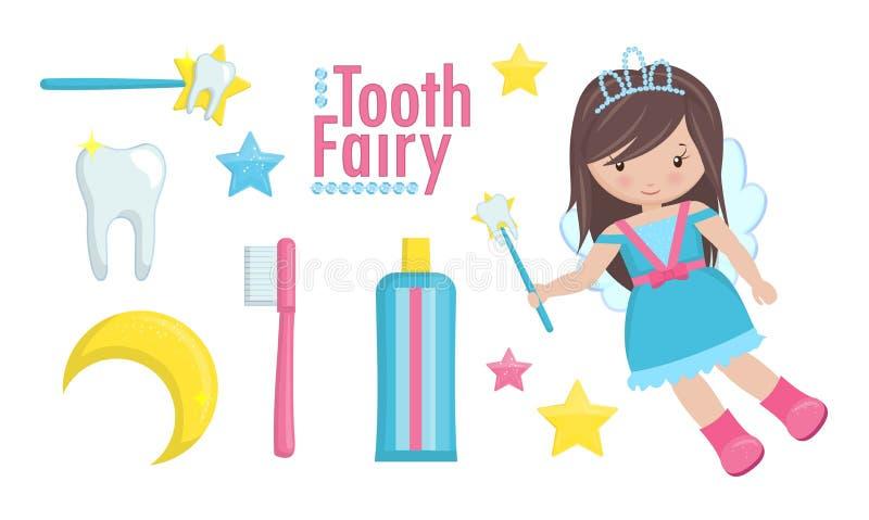 Fatato di dente con la bacchetta e un insieme degli oggetti svegli royalty illustrazione gratis