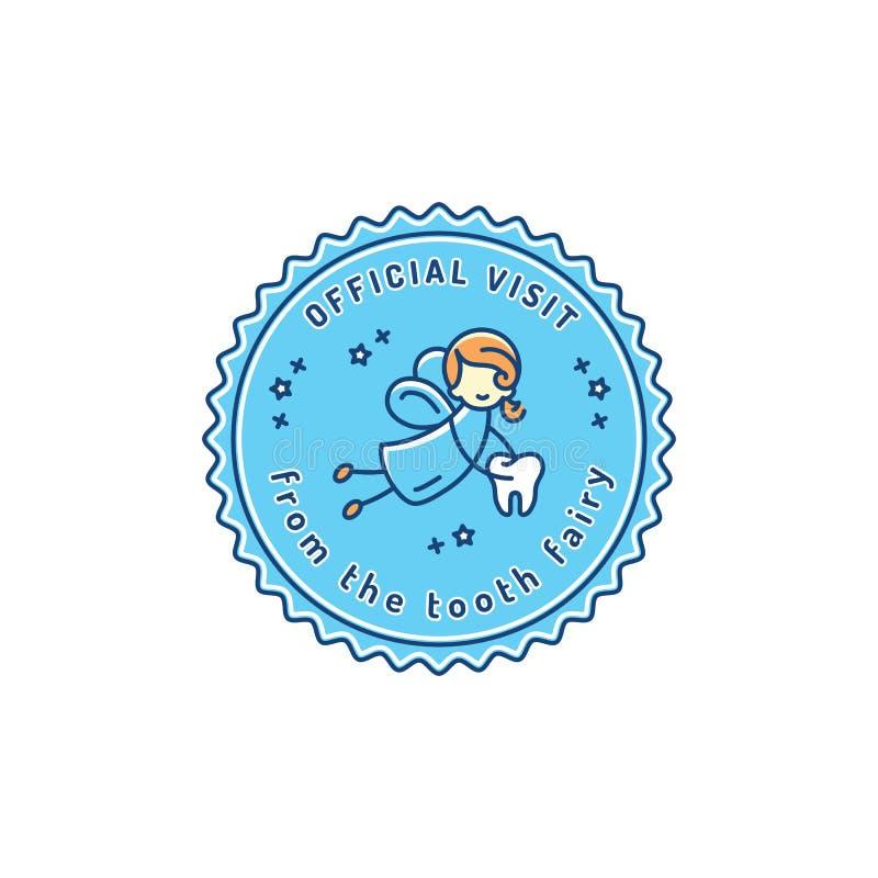 Fatato di dente di visita ufficiale, icona del bollo di odontoiatria del ` s dei bambini Simbolo del bambino di cure odontoiatric royalty illustrazione gratis