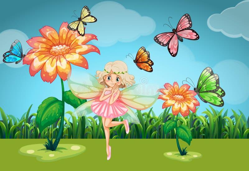 Fatato e farfalle nel giardino illustrazione vettoriale