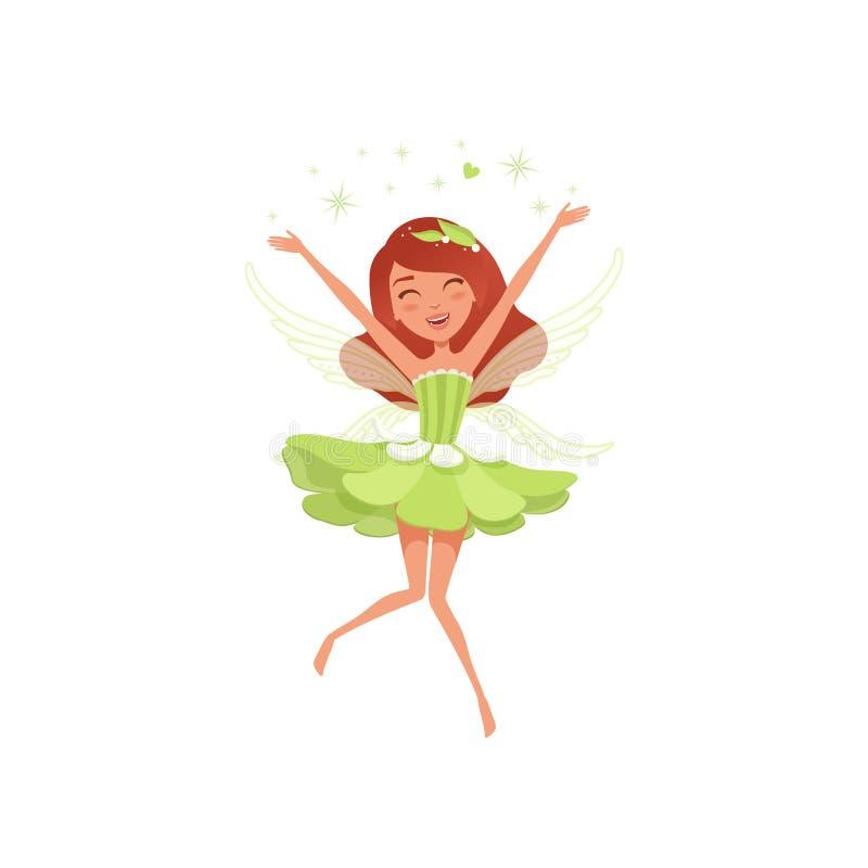 Fatato magico in bello vestito verde Carattere immaginario di diffusione di favola della polvere del folletto della ragazza felic illustrazione vettoriale