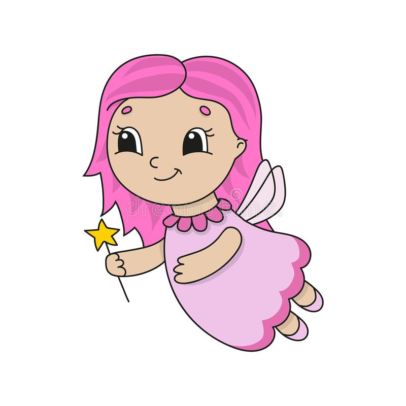 Fatato sveglio in un vestito rosa Illustrazione piana sveglia di vettore nello stile puerile del fumetto Carattere divertente Iso illustrazione di stock
