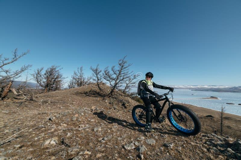 Fatbike (fat bike or fat-tire bike) stock images
