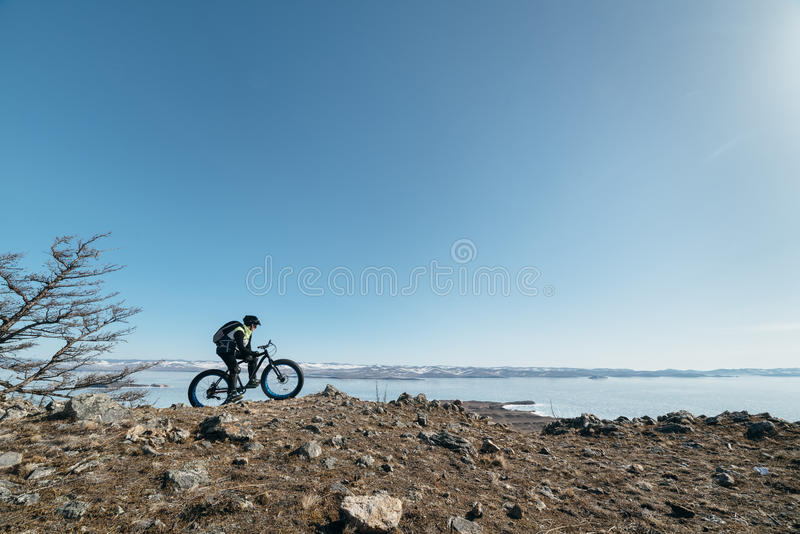 Fatbike (fat bike or fat-tire bike) stock image