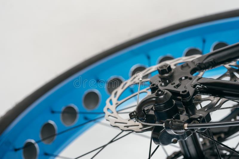 Fatbike fat bike or fat-tire bike. Fatbike also called fat bike or fat-tire bike - Cycling on large wheels. Shooting major bicycle parts on a white background royalty free stock image