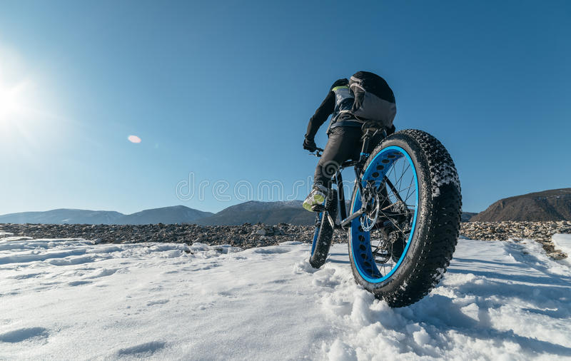 Fatbike & x28; vette fiets of vet-band bike& x29; royalty-vrije stock foto's