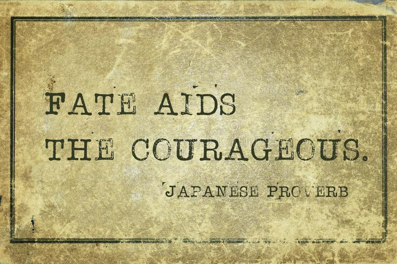 Fate aids JP. Fate aids the courageous - ancient Japanese proverb printed on grunge vintage cardboard stock illustration
