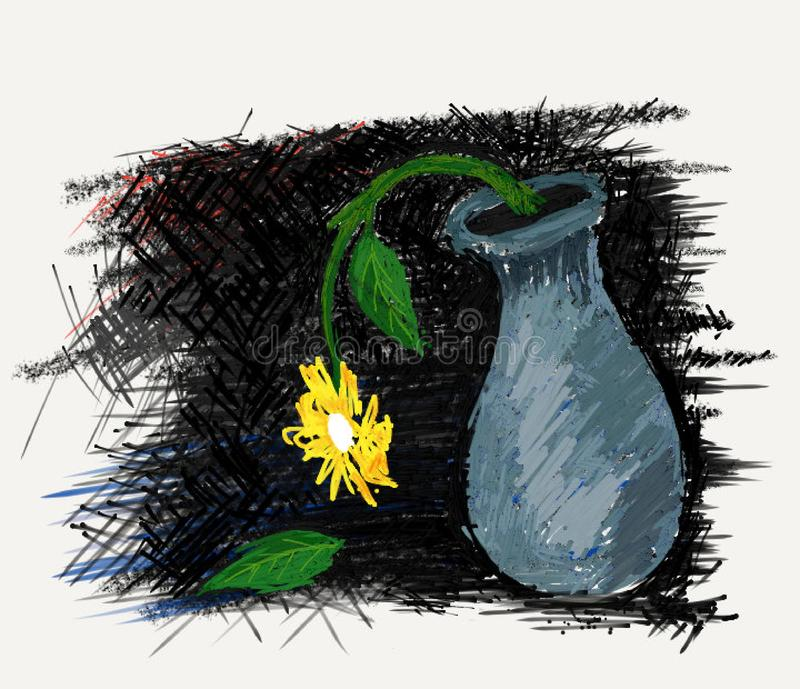 Fate of Fallen Leaves. An illustration of a wilted flower in a vase with fallen leaves vector illustration
