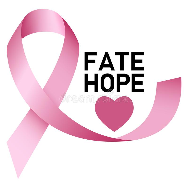 Fate hope breast cancer logo, realistic style vector illustration